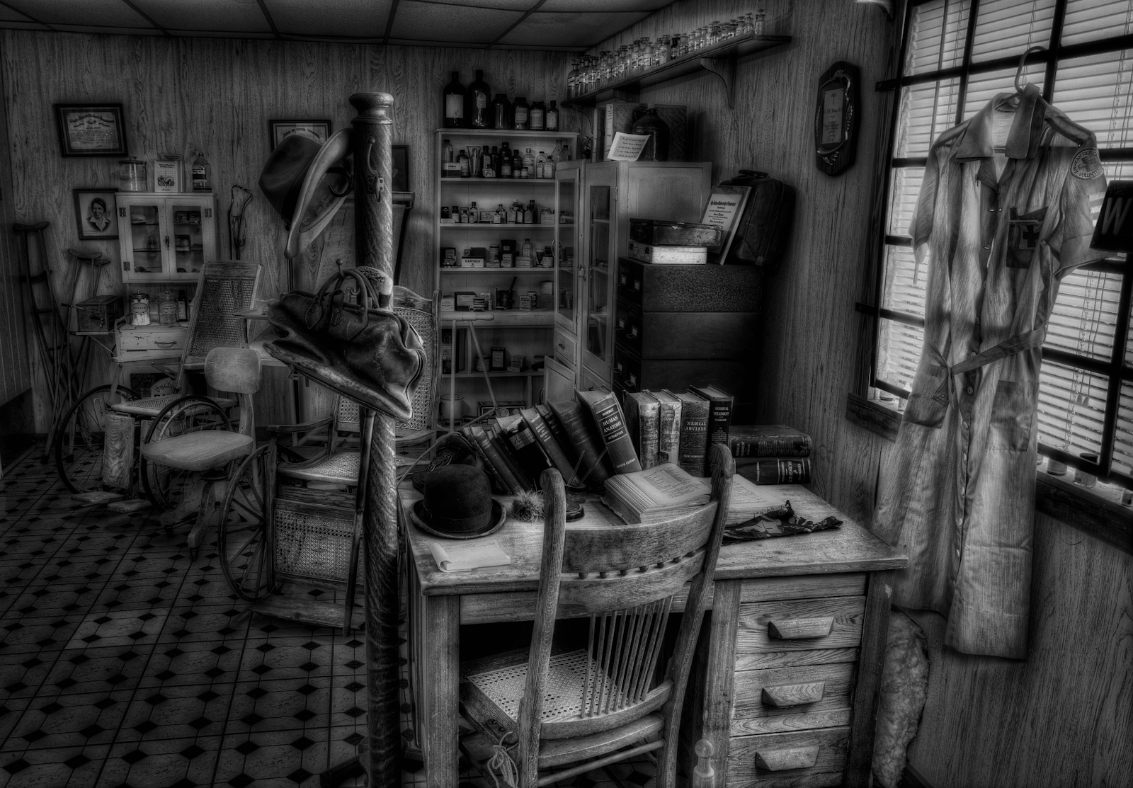 Old Doctors Office Black and White