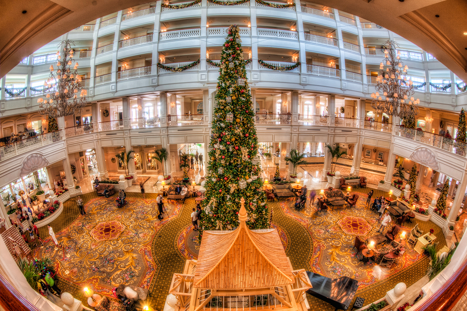 Grand Floridian Hotel Lobby Fisheye at Christmas