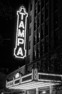 Tampa Theater Sign Black and White