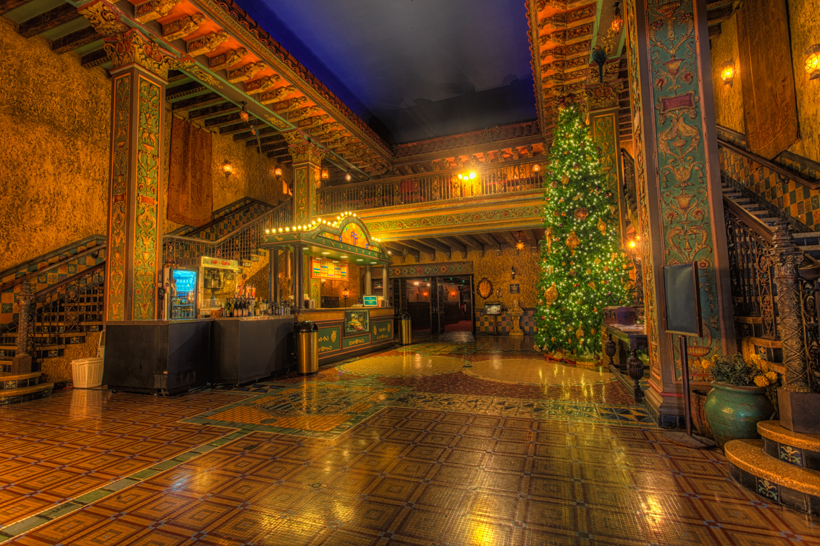 Tampa Theater Lobby with Christmas Tree