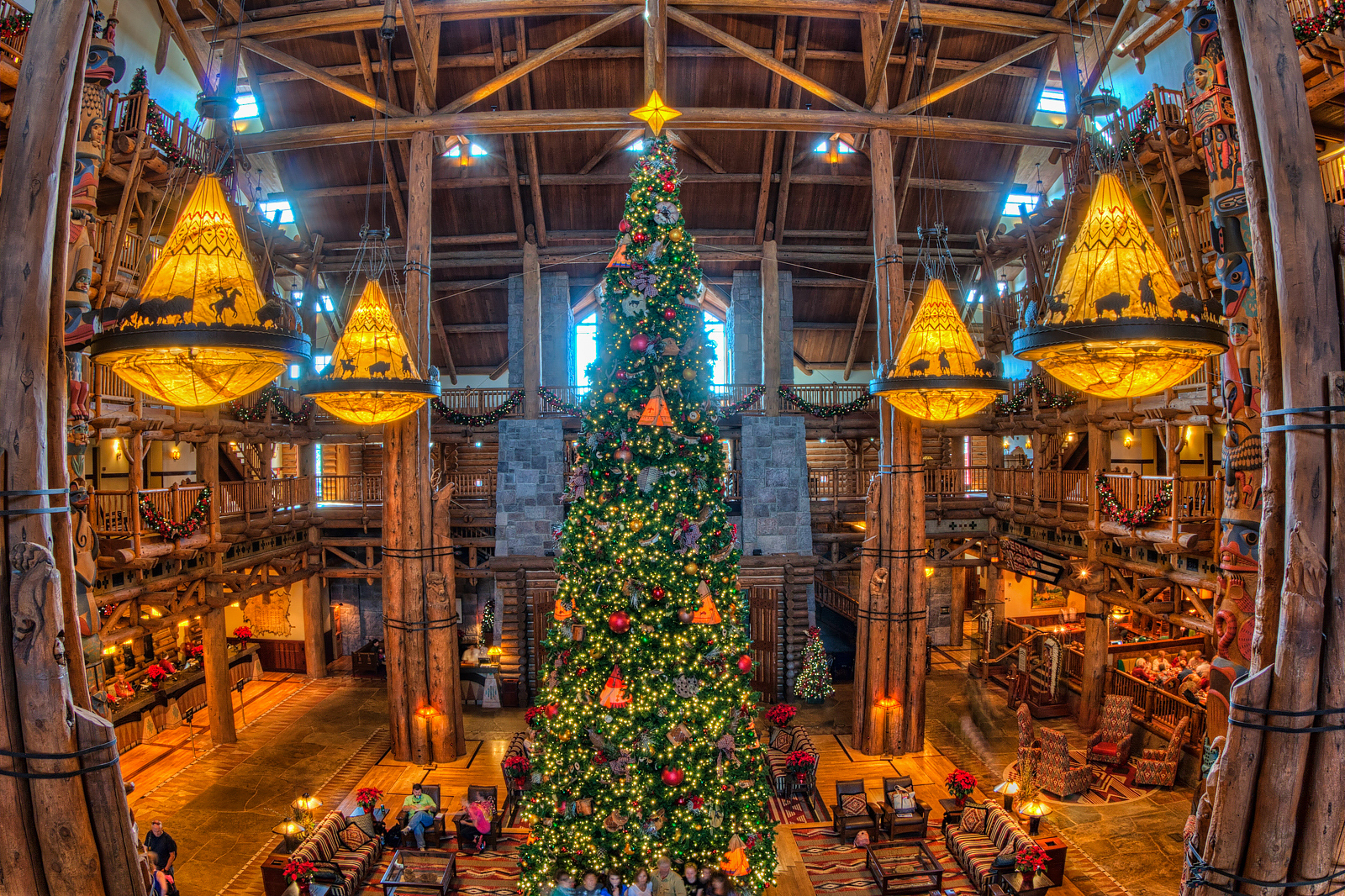 Wilderness Lodge Lobby and Christmas Tree High View