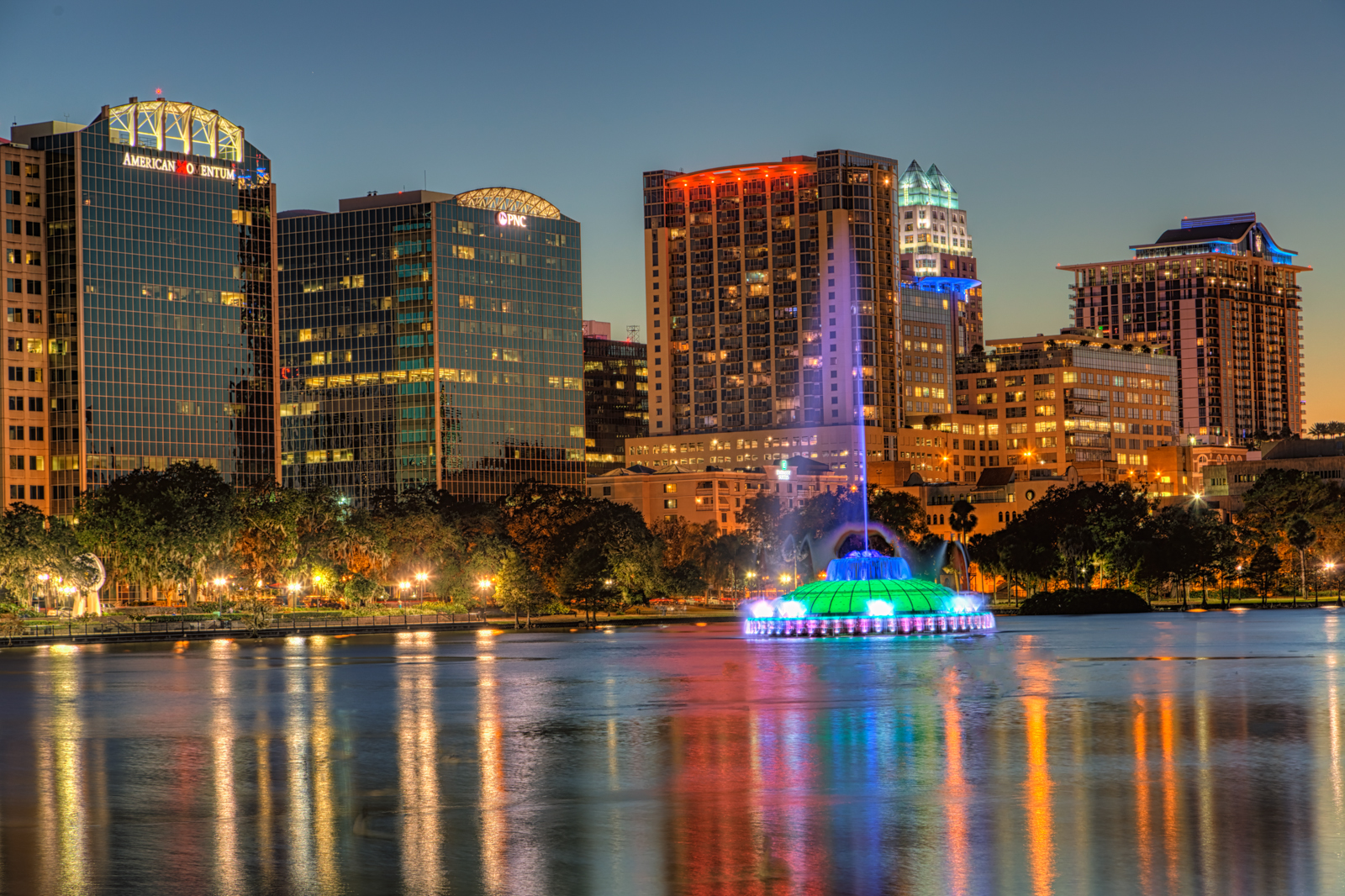 Lake Eola Fountain and Buildings