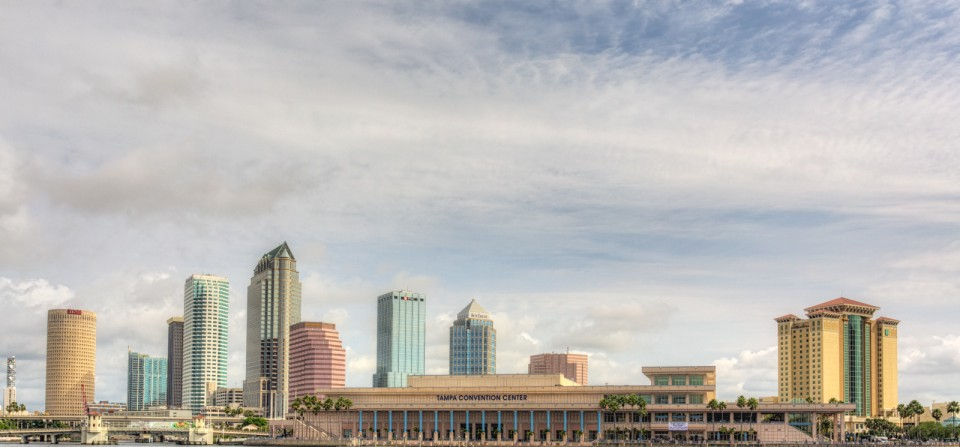 Tampa with Blue Sky and Clouds
