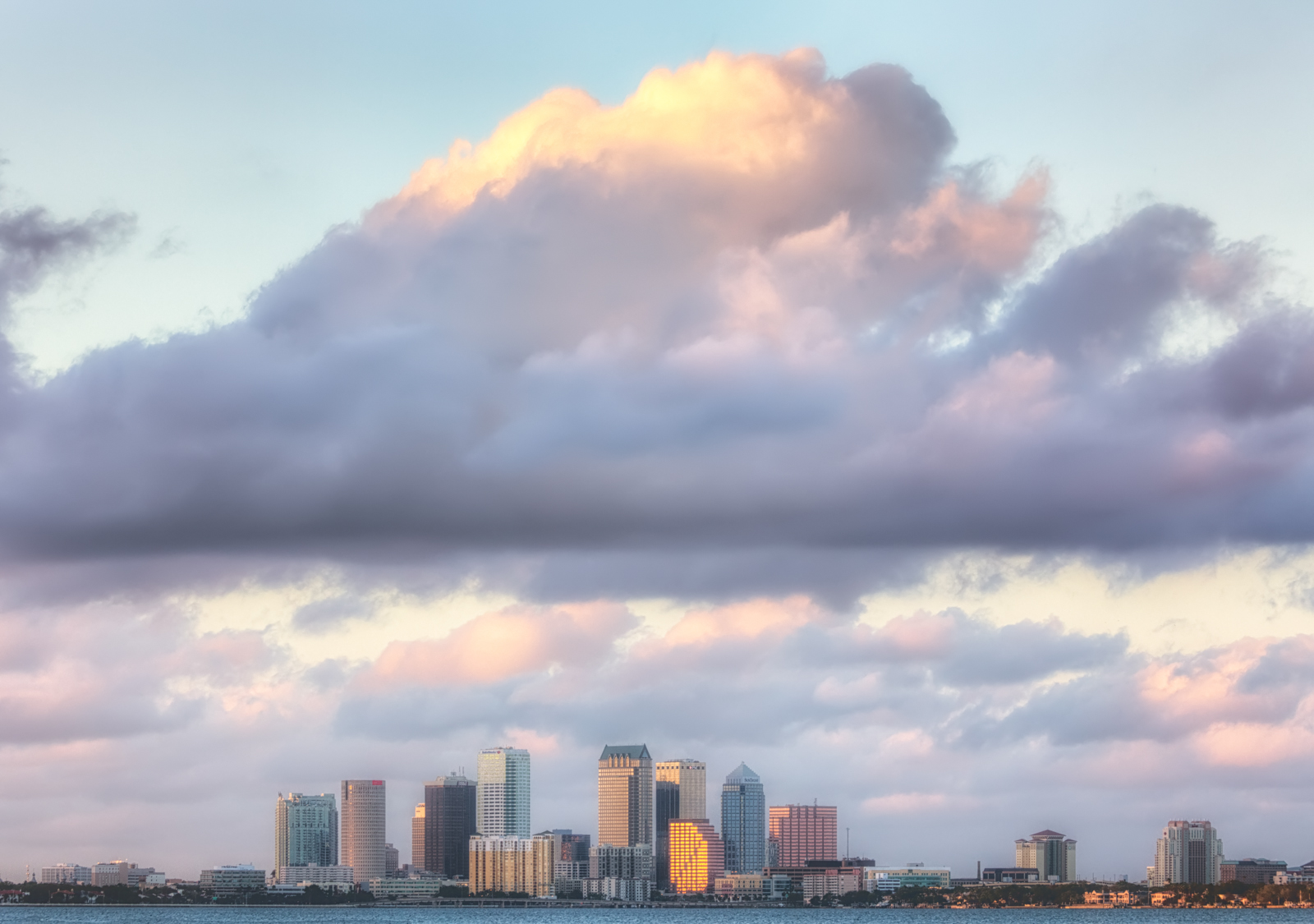 Tampa Skyline with Big Clouds