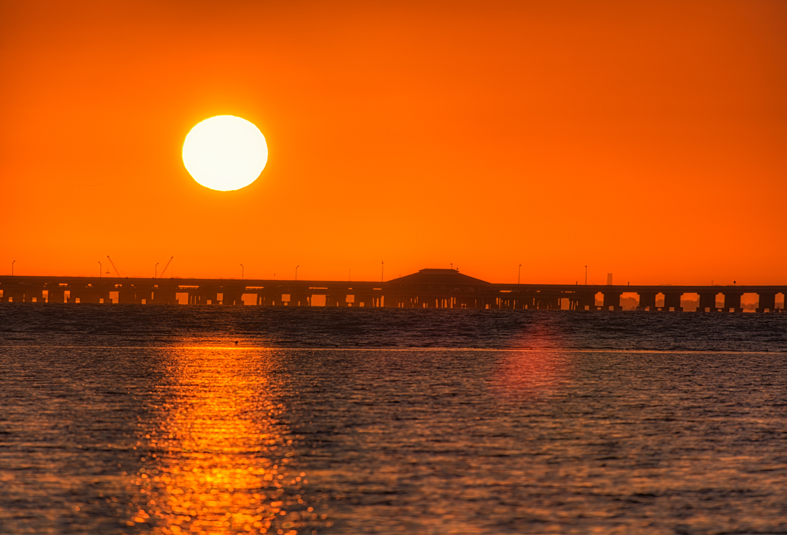 Sunrise Ball over Skyway Fishing Pier