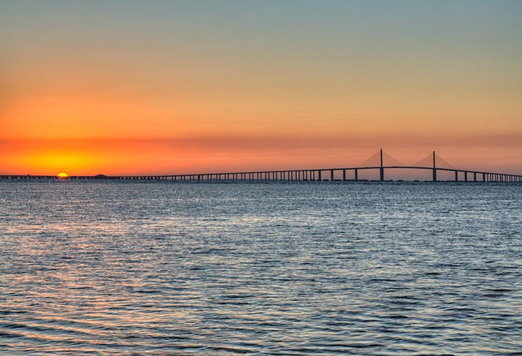 Sunrise over the Skyway Bridge Fishing Pier
