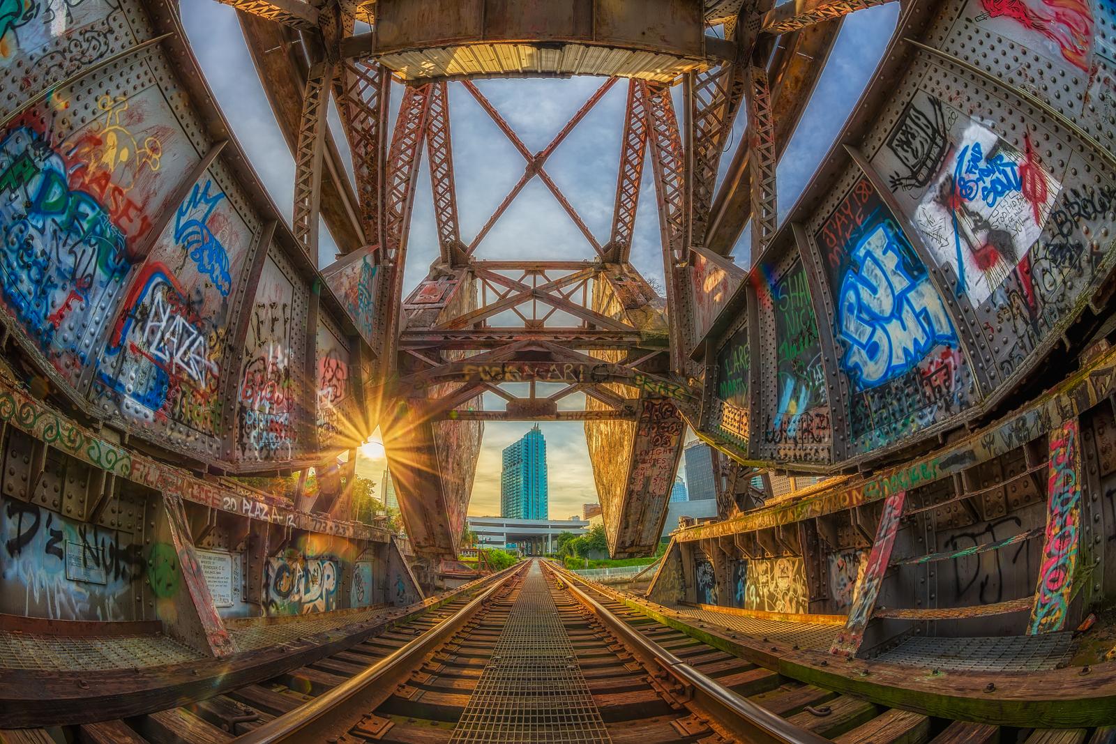 Graffiti and Sun Rays in Cass Street Rail Bridge