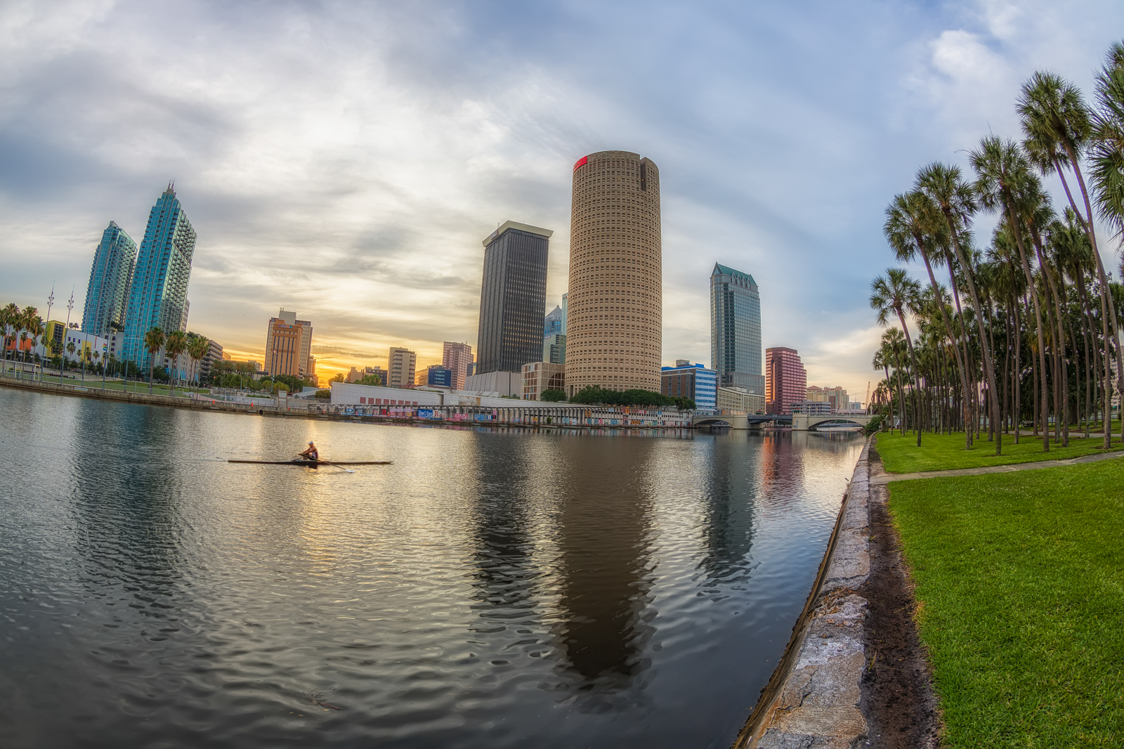 Single Scull along the Hillsborough River at Sunrise