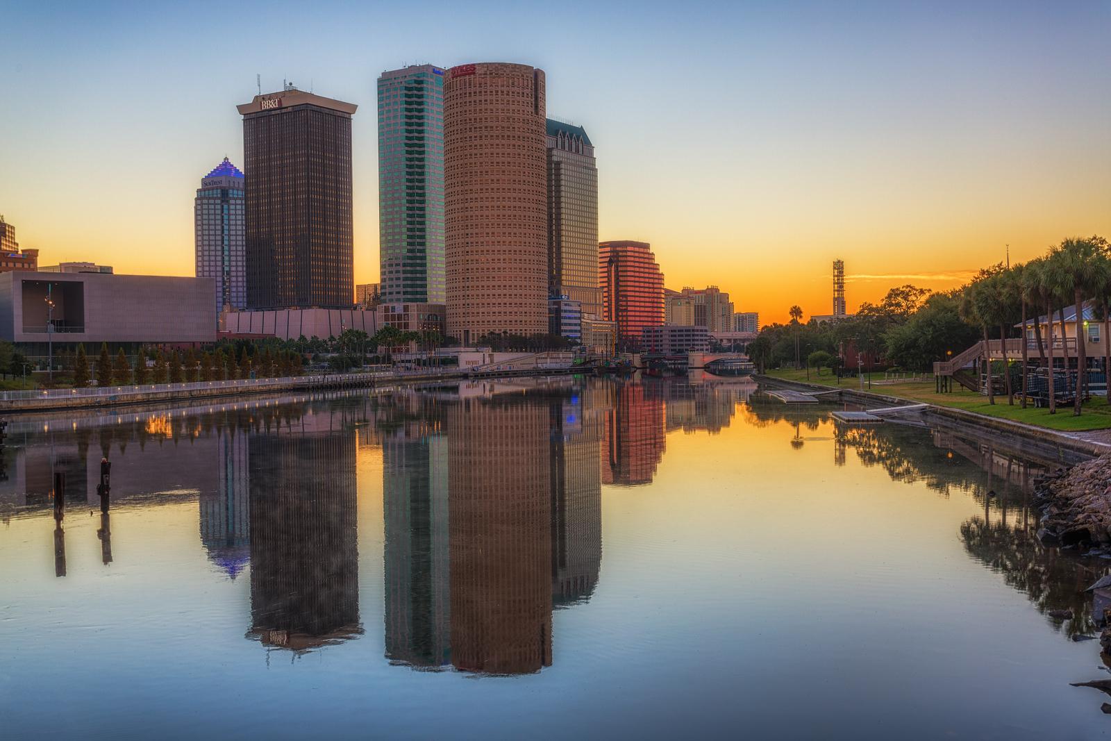 Mirror Image of Tampa Skyline at Sunrise