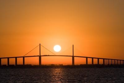 Sunrise Centered over Skyway Bridge