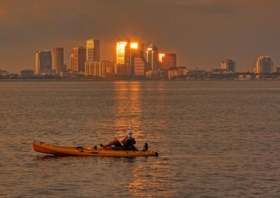 Tampa Kayaker Sunset
