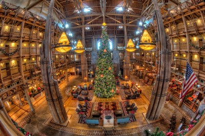 Wilderness Lodge Lobby and Christmas Tree