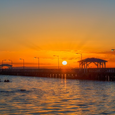 Sun fully risen over Ballast Point Park Pier, Tampa, Florida