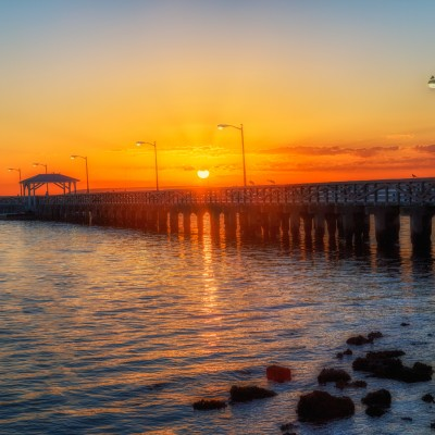 Sunrise over Ballast Point Park Pier, Tampa, Florida