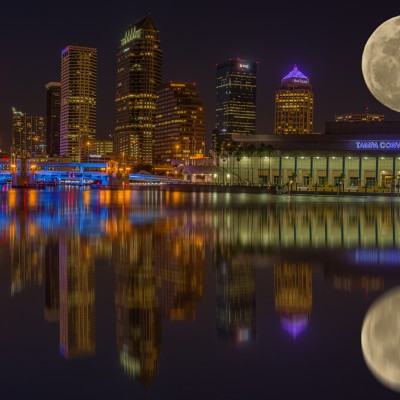 Tampa Skyline Huge Moon Reflection, Tampa, Florida