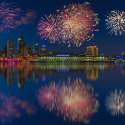 Tampa Skyline Wide Fireworks Reflection Composite, Tampa, Florida