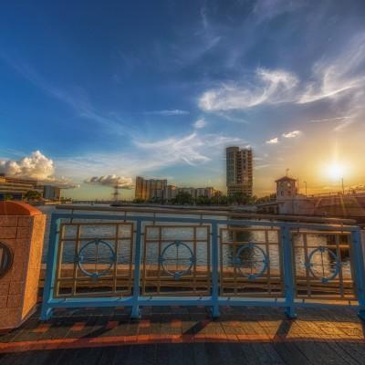 Sunset on the Tampa Riverwalk, Tampa, Florida