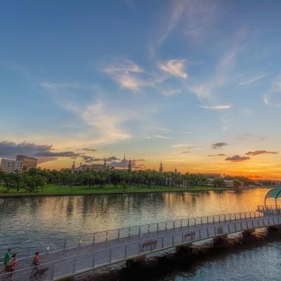 Tampa Riverwalk and the University of Tampa Sunset, Tampa, Florida
