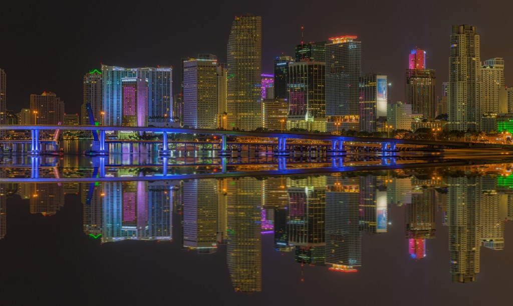 Miami Skyline Tight Before Dawn Reflection Composite, Miami, Florida