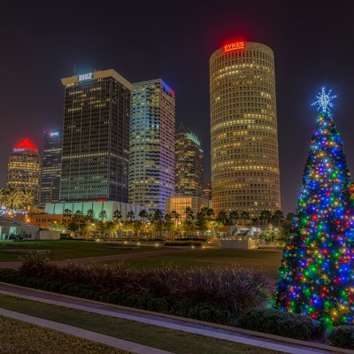 Curtis Hixon Park Christmas Tree and Tampa Skyline, Tampa, Florida