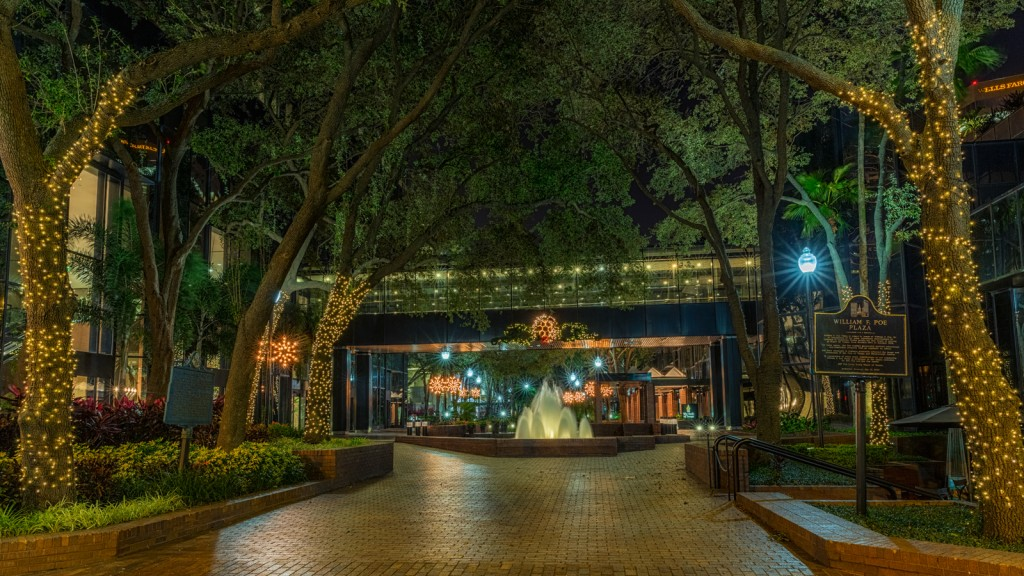 William F Poe Plaza with Christmas Lights, Tampa, Florida