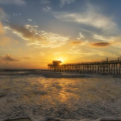 Cocoa Beach Pier Sunburst Sunrise Wide, Cocoa Beach, Florida