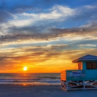 Venice Aqua Lifeguard Hut Sunset 6, Venice, Florida