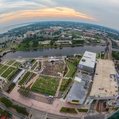 Fisheye View of Curtis Hixon Park and University of Tampa, Tampa, Florida