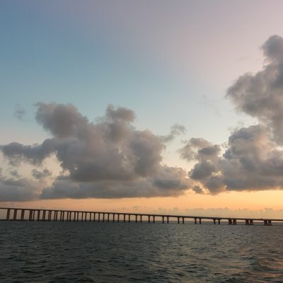 Orange and Blue over the Skyway Bridge, St Petersburg, Florida