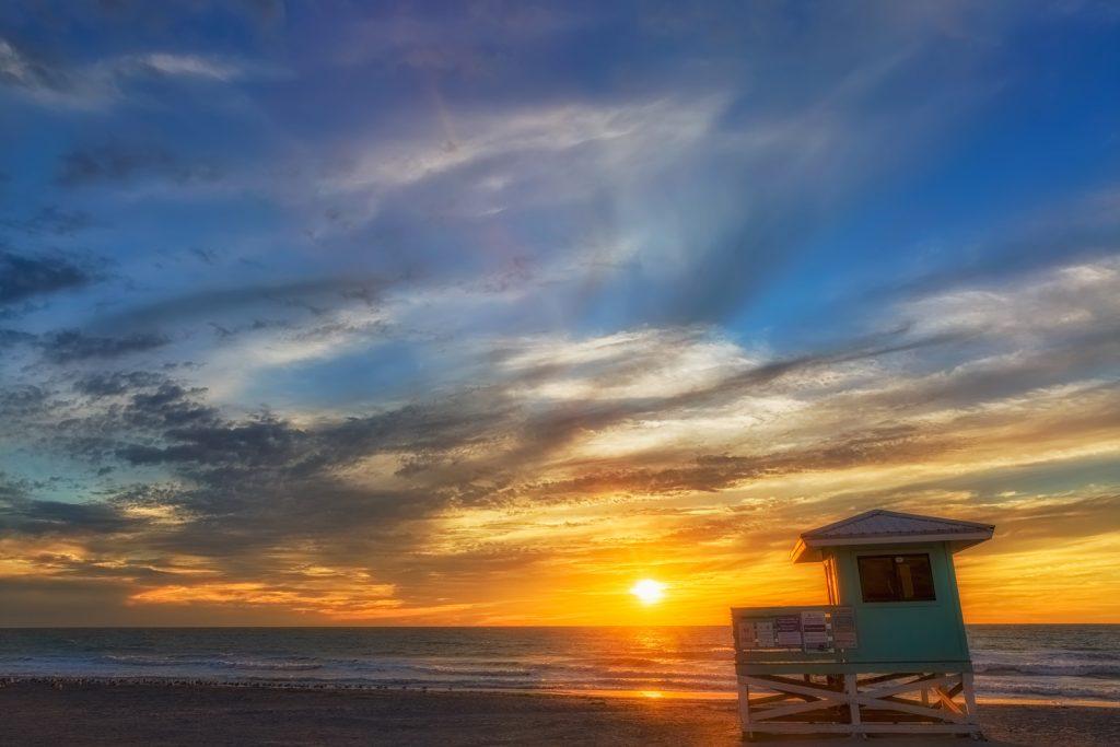 Venice Aqua Lifeguard Hut Sunset 5, Venice, Florida