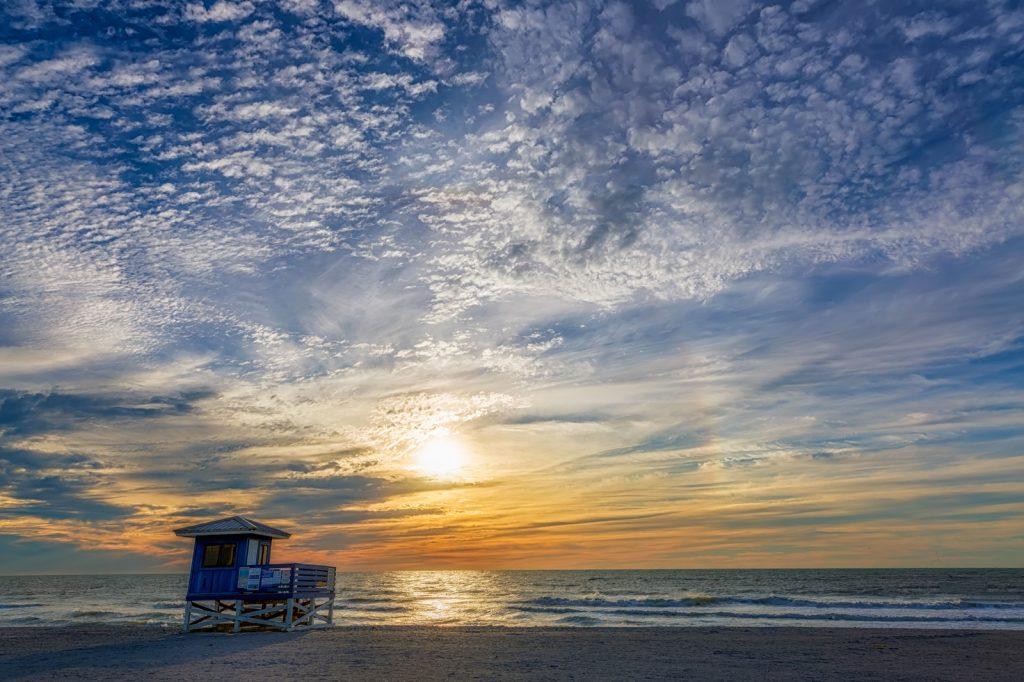 Venice Blue Lifeguard Hut Sunset, Venice, Florida