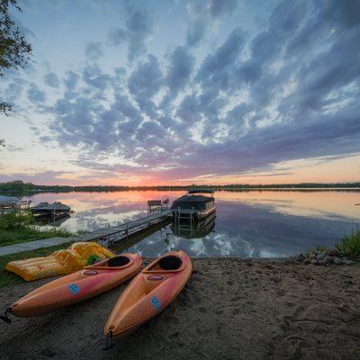 Kayak Sunset on Dead Lake, Dent, Minnesota
