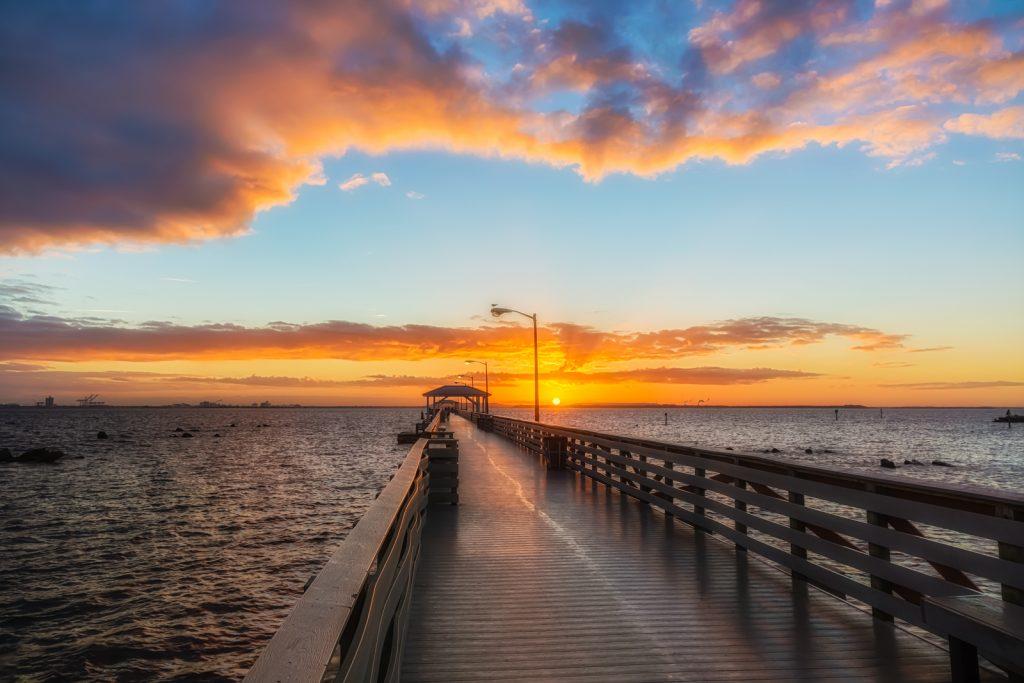 Ballast Point Pier Sunrise Glow, Tampa, Florida