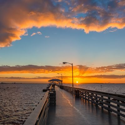 Sunrise Complete at Ballast Point Pier Wide, Tampa, Florida