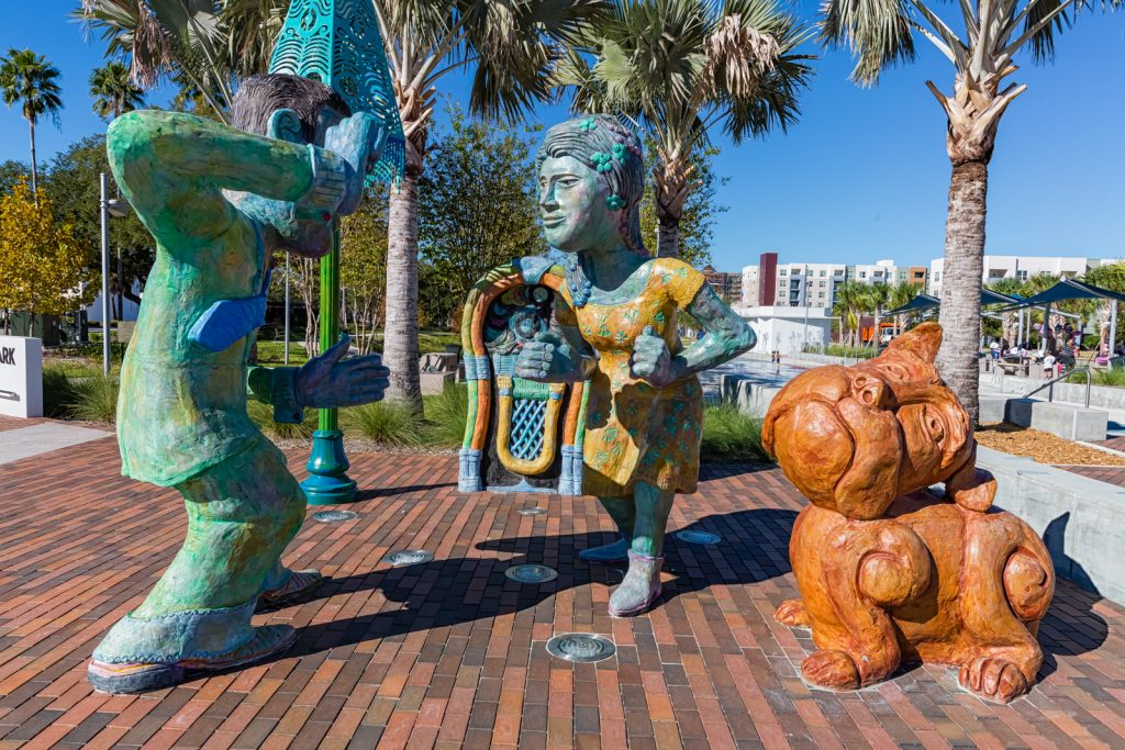 Dancers and Dog Sculpture at Perry Harvey Park, Tampa, Florida