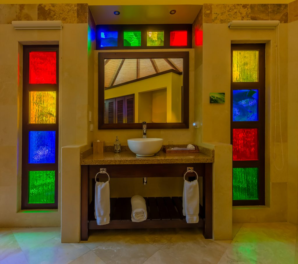 Colorful bathroom, Nayara Hotel, La Fortuna, Costa Rica