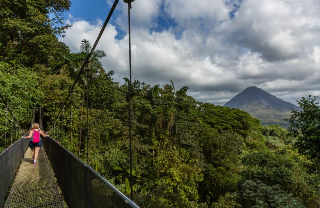 My wife on hanging bridge near Arenal Volcano, Mistico Arenal Hanging Bridges Park, La Fortuna, Costa Rica