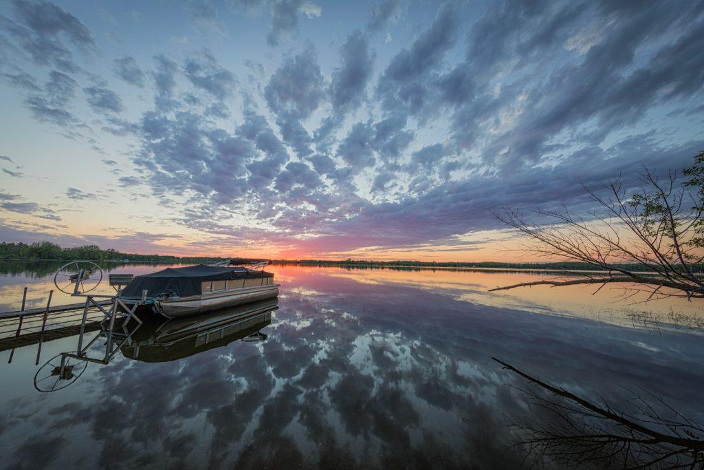 Pontoon Boat at Sunset 2 on Dead Lake, Minnesota