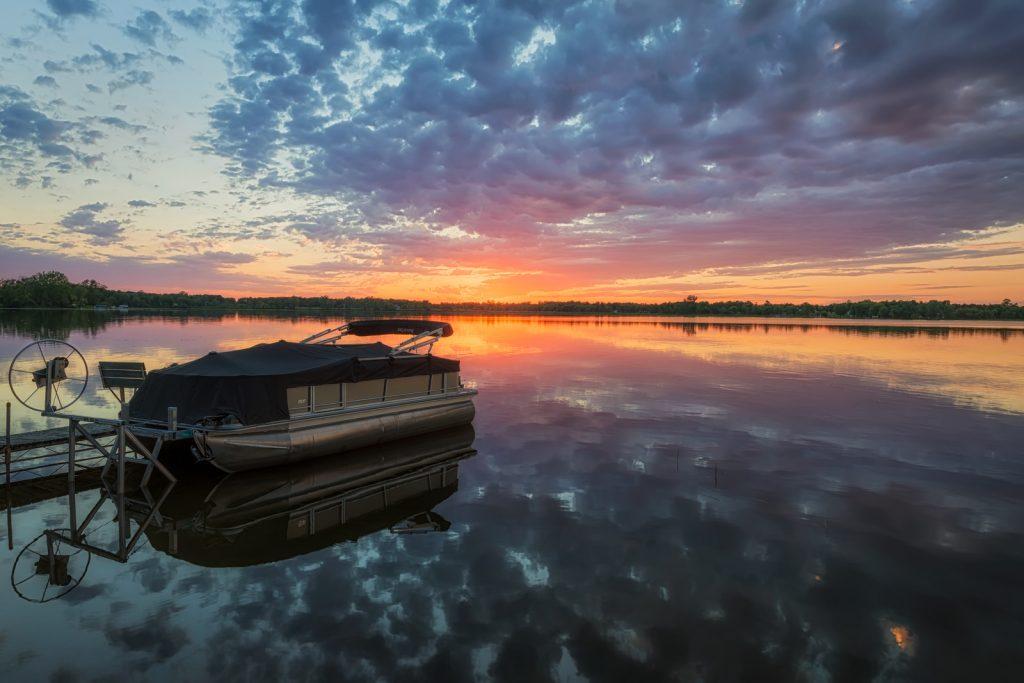 Pontoon Boat at Sunset on Dead Lake, Minnesota