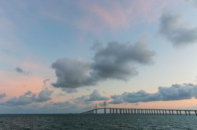 Sunshine Skyway Bridge Clouds and Sun