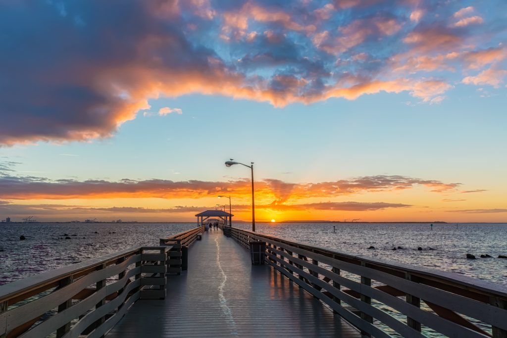 Ballast Point Pier Sunrise Centered Wide, Tampa, Florida