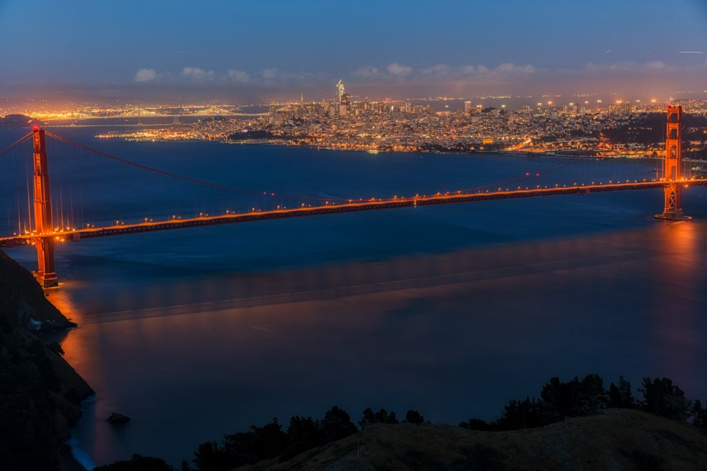 Golden Gate Bridge and San Fransisco at Night Wide View, San Fransisco, California
