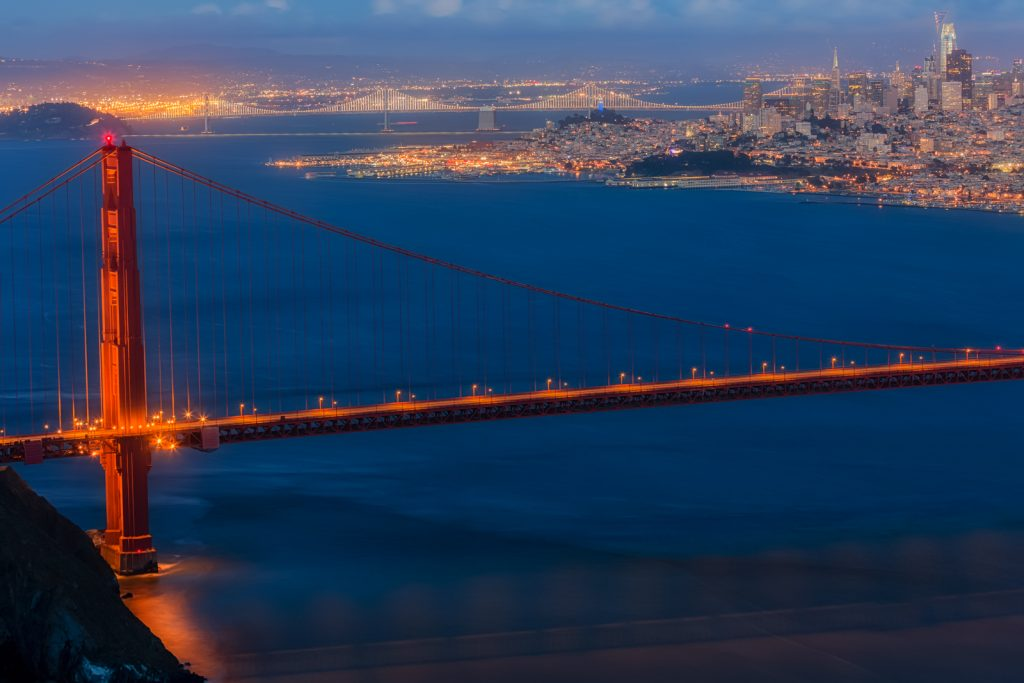 San Fransisco and the Golden Gate Bridge at Night, San Fransisco, California