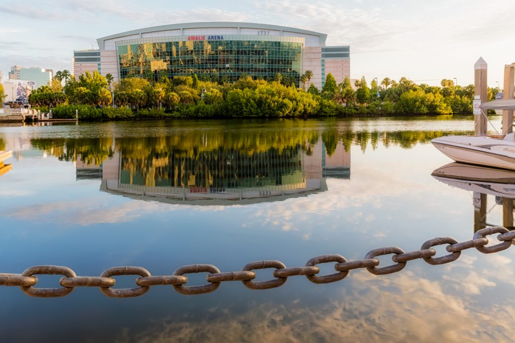 Amalie Arena Reflection and Chain, Tampa, Florida