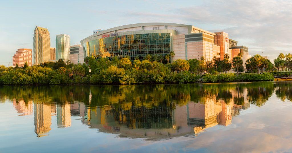 Amalie Arena and Skyline Reflection Angled Large, Tampa, Florida