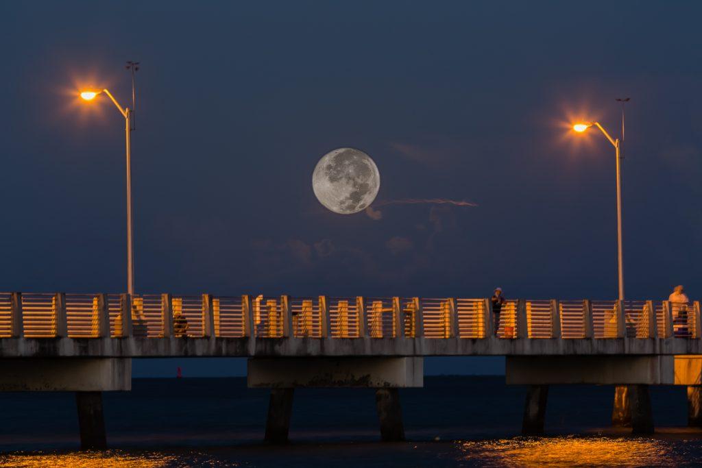 Full Moon Low over Fishing Pier, Fort Desoto, Tierra Verde, Florida