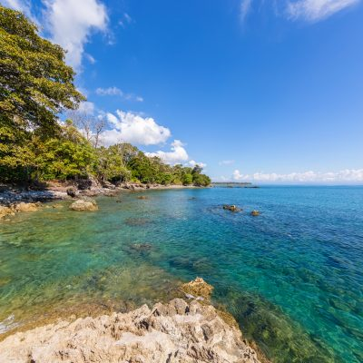 Turqouise Waters and Rocks in Costa Rica, Lapa Rios Ecolodge, Osa Peninsula, Costa Rica