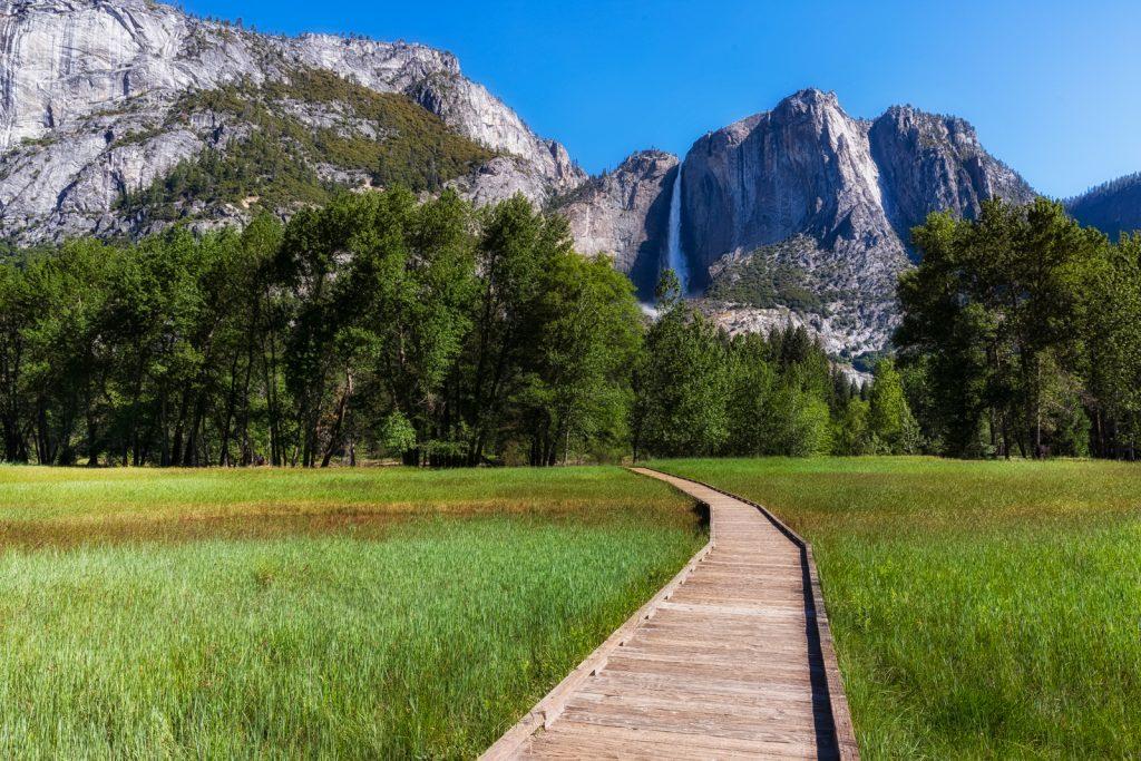 El Capitan and Upper Yosemite Falls, Yosemite National Park, California
