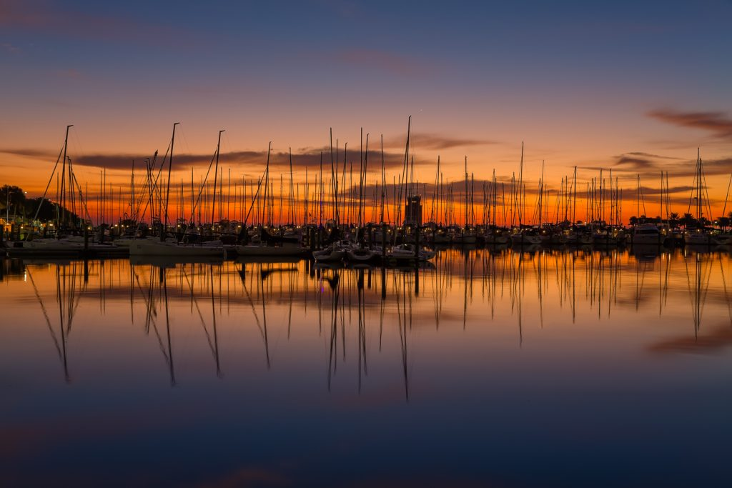 St Pete Sailboats at Sunrise, St Petersburg, Florida