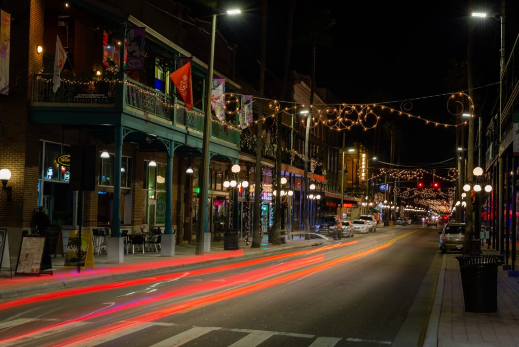 7th Avenue Light trails Ybor City, Ybor City, Florida